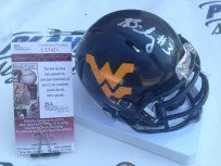 Stedman Bailey West Virginia WVU Mountaineers CAREER STATS mini helmet JSA COA