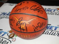 2011-2012 Texas Longhorns Horns team signed logo basketball Rick Barnes