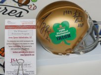 Tony Rice signed 1988 Notre Dame Irish Champs Fiesta Bowl mini helmet with 89 MVP JSA COA