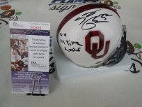 Samaje Perine Signed Oklahoma OU Sooners Bring the Wood Mini Helmet w/ OU All Time Leading Rusher JSA COA Washington Redskins