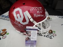 Joe Mixon and Samaje Perine Dual Signed Oklahoma OU Sooners Full Size Helmet with Nicknames JSA COA Bengals Redskins