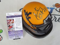 Justin Crawford signed West Virginia WVU Mountaineers gold yellow mini helmet JSA COA
