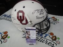Joe Mixon and Samaje Perine Dual Signed Oklahoma OU Sooners Bring the Wood Full Size Helmet JSA COA