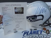 Marshawn Lynch signed Seattle Seahawks white full size custom helmet JSA LOA COA
