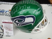 Richard Sherman and Kam Chancellor dual signed Seattle Seahawks GREEN full size custom helmet JSA COA
