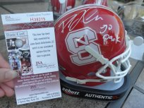 David Amerson signed NC State NCSU Wolfpack red mini helmet JSA COA Washington Redskins