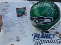 Marshawn Lynch signed Seattle Seahawks green full size custom helmet JSA LOA COA