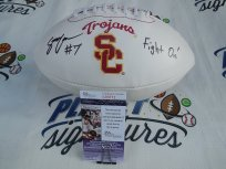 Stephen Carr signed Southern Cal California USC Trojans logo football w/ Fight On JSA COA