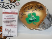 Raghib Rocket Ismail signed 88 Notre Dame Irish Champs Fiesta Bowl mini helmet JSA COA