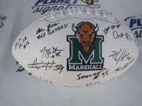 2016 Marshall Thundering Herd team signed logo football Chase Litton COA