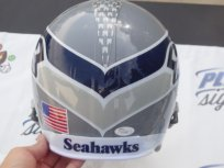 Marshawn Lynch signed Seattle Seahawks gray wolf full size custom helmet JSA LOA COA